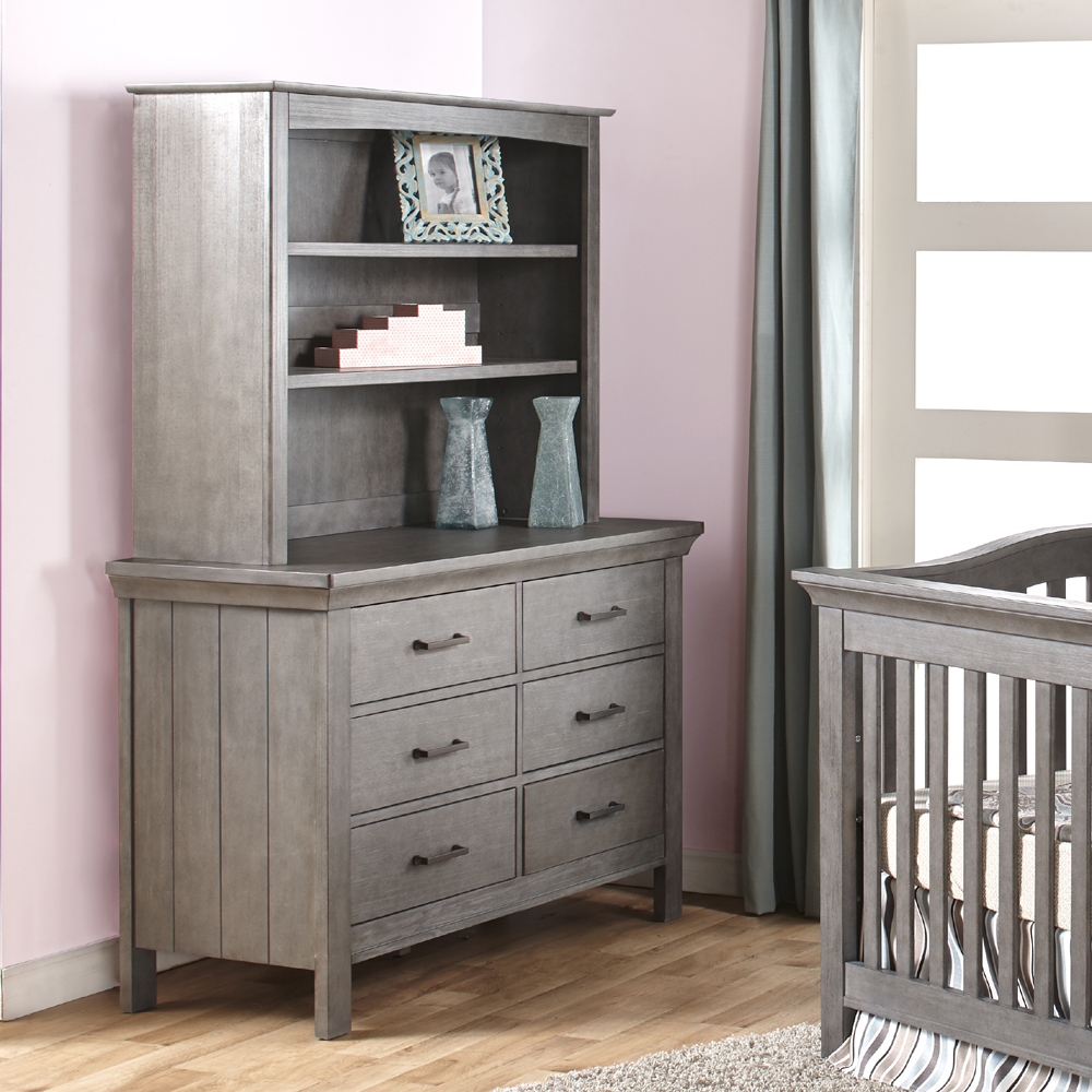 The Hutch in Slate (finish not available), on the top of a Torino Double Dresser.<br>