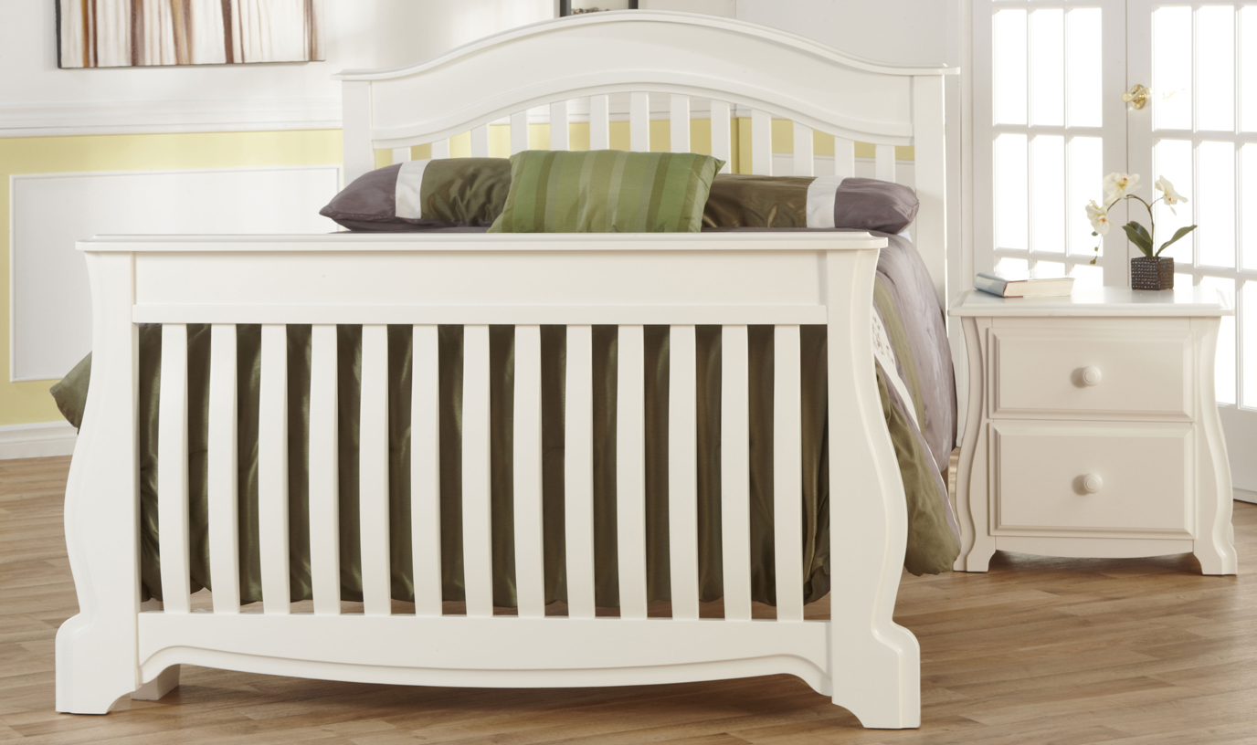 <b>Bergamo Full-Size Bed</b> in White, possibly the most beautiful conversion of a crib!