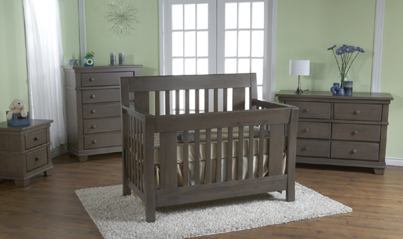 <b>Emilia Forever Crib</b> with a Torino Double Dresser, a Torino 5 Drawer Dresser and a Torino Nightstand, all shown in Slate.