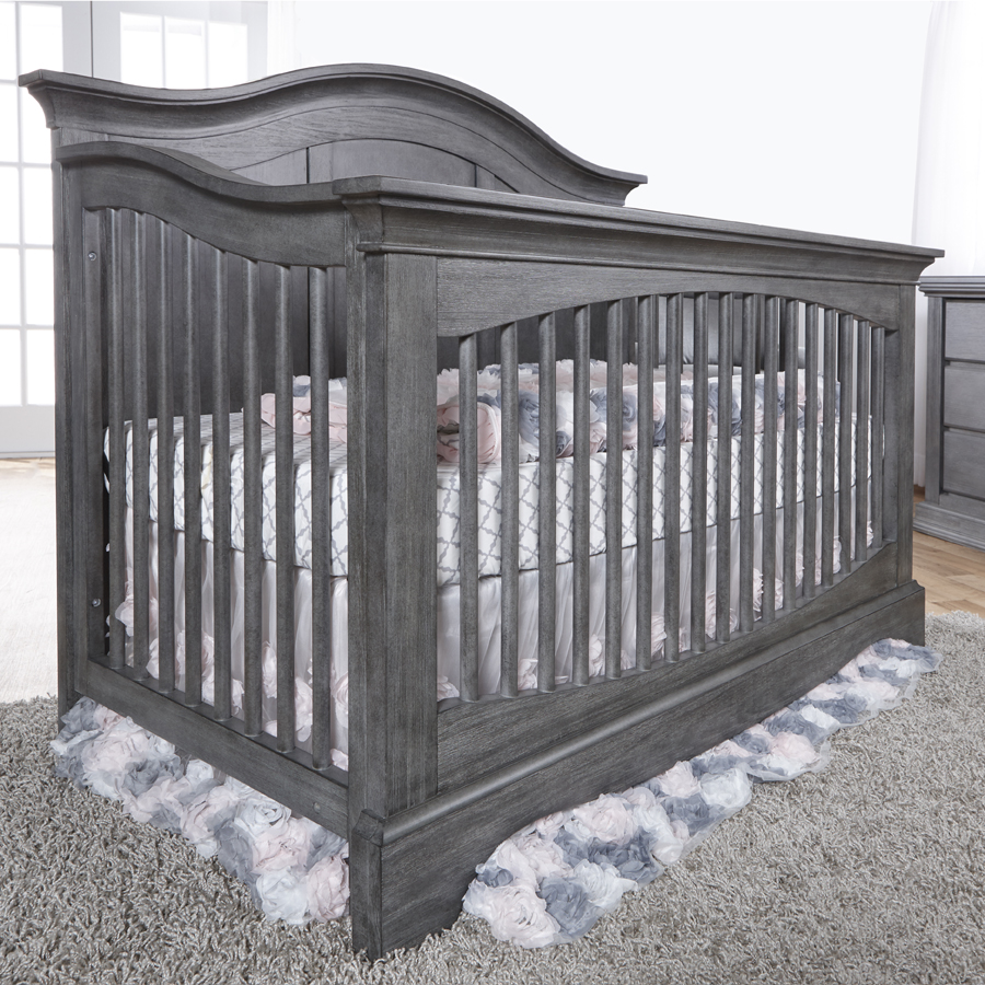 The <b>Enna Forever Crib</b> is a sweet and stylish piece that coordinates nicely with both the Ragusa, Marina and Torino Collections.  Shown here in its new finish: <b>Distressed Granite</b>.