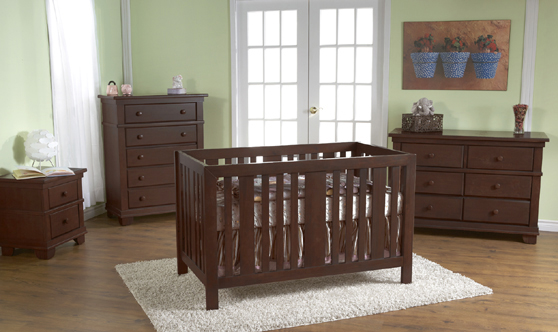 <b>Imperia Forever Crib</b> with a 1314 Torino Nightstand , a 1405 Torino 5-Drawer Dresser and a 1406 Torino Double Dresser, all shown in Mocacchino.