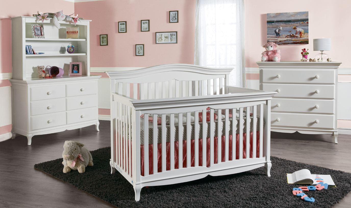 <b>Mantova Forever Crib</b> shown in White.  <br>