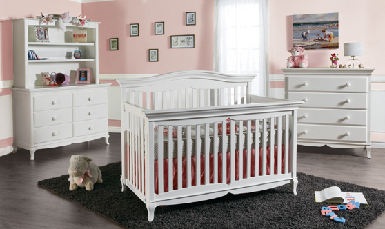 <b>Mantova Forever crib</b> with a 1006 Double Dresser, a 5555 Bookcase Hutch and a 1004 4 Drawer Dresser, all shown in White.