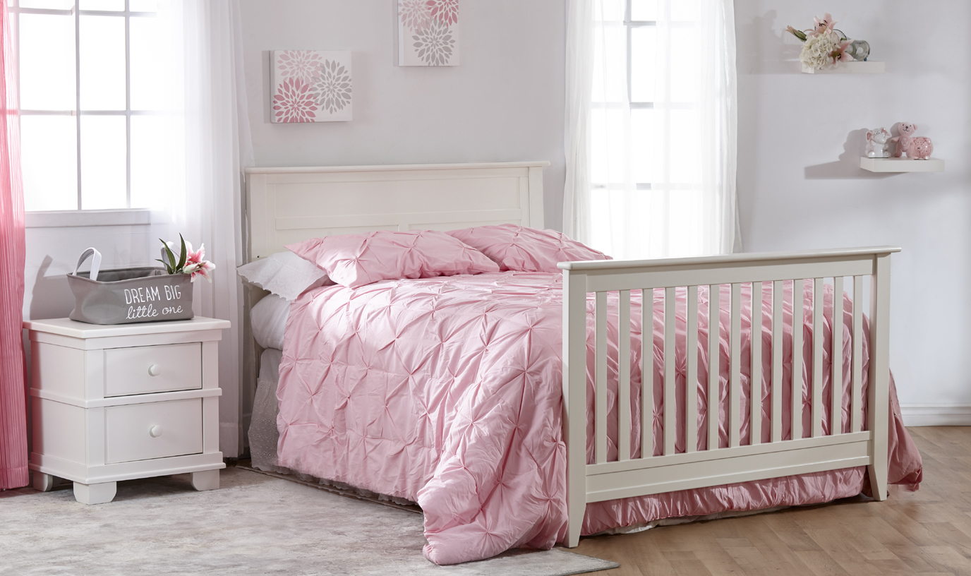 The brand-new Napoli Forever Crib with Flat-Top Headboard. Here shown in White, as a Full-size bed.