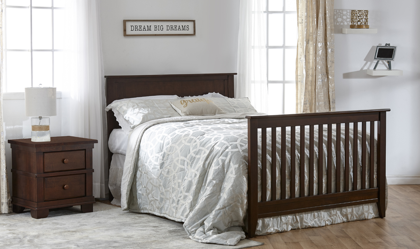 The brand-new Napoli Forever Crib with Flat-Top Headboard. Here shown in Mocacchino, as a Full-size bed.