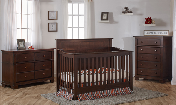 The brand-new Napoli Forever Crib with Flat-Top Headboard, here shown in Mocacchino with Torino furniture.