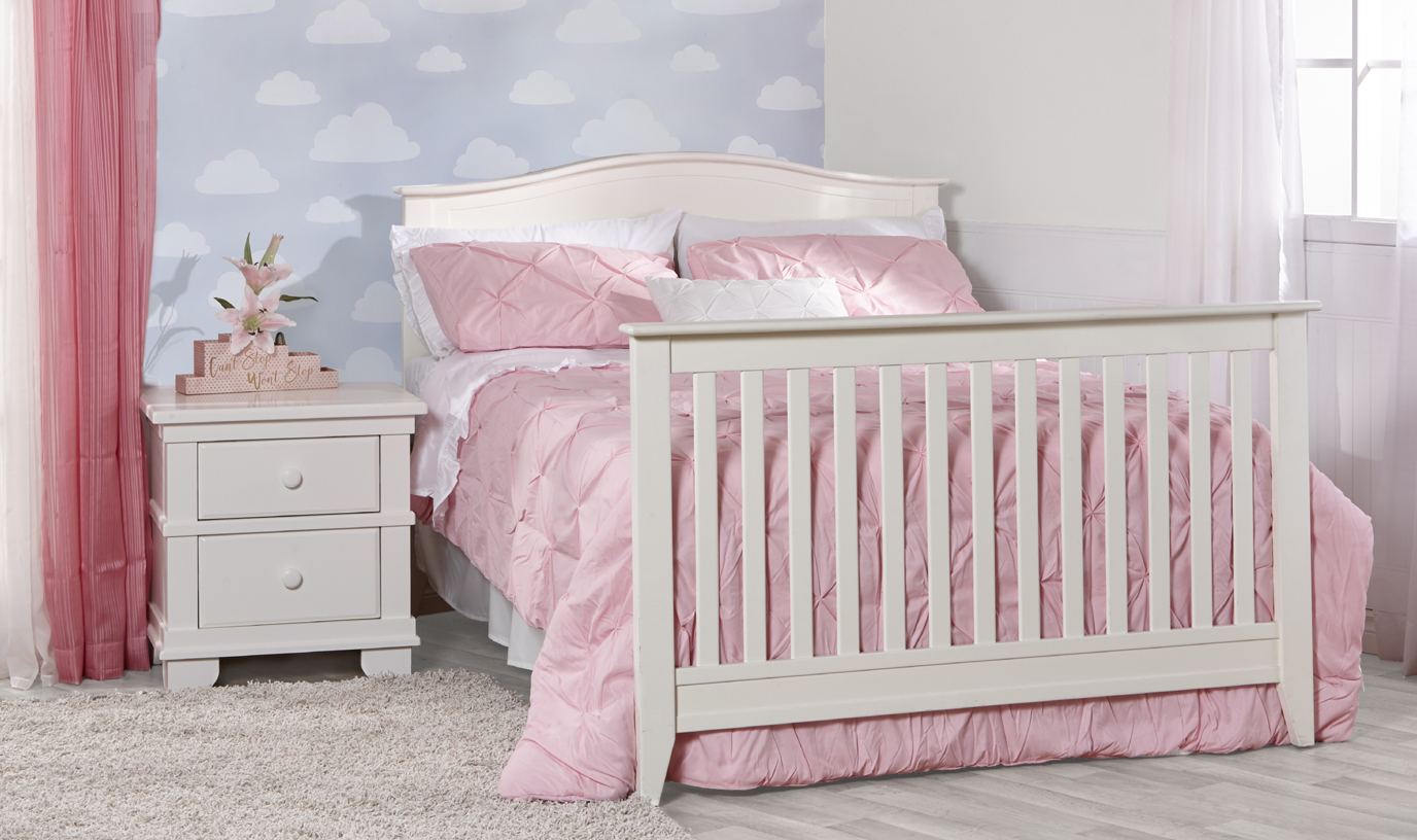Introducing the Napoli Forever Crib, a great and affordable addition to our Torino Collection. <br>Here as a full-size bed, in White.