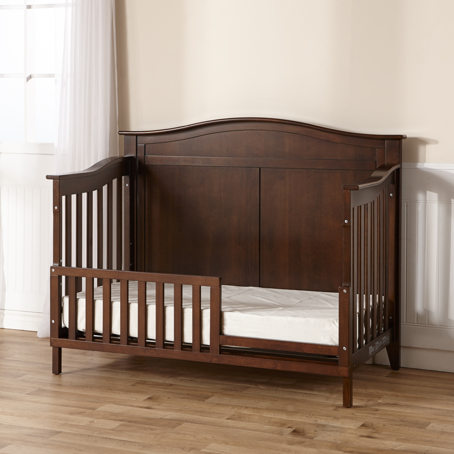 <b>Napoli</b> Convertible Crib. Here shown as a toddler bed, in Mocacchino.