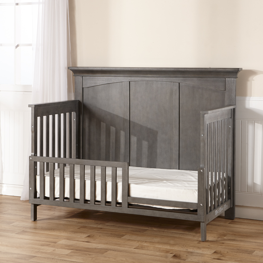 The <b>Ragusa</b> Convertible Crib. Here shown as a toddler bed, in Distressed Granite.