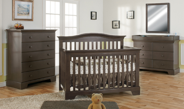 <b>Volterra Forever Crib</b> with a 1205 Volterra 5 Drawer Dresser, 1206 Volterra Double Dresser and a 7777 Mirror, all shown in Slate.
