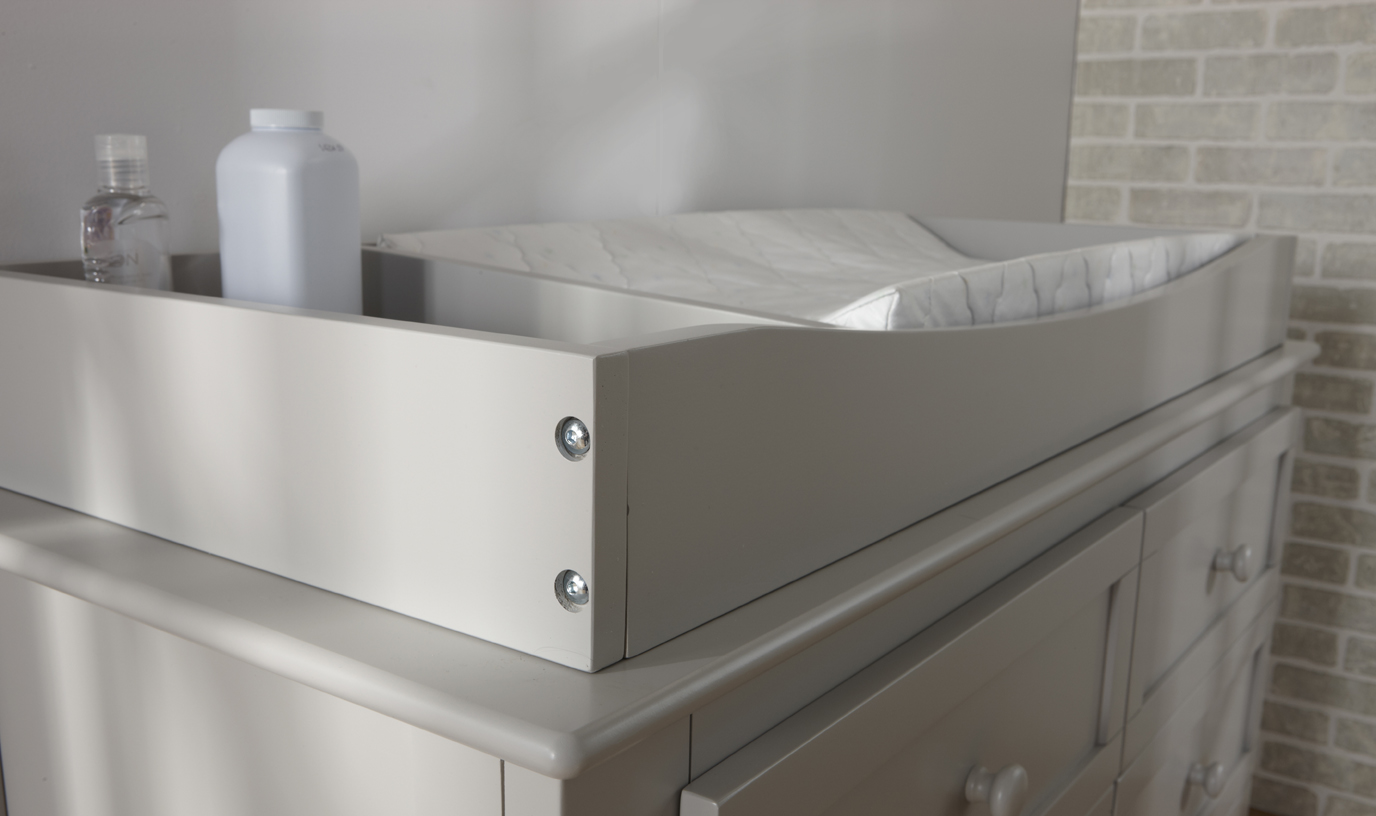 "Our 9900 <b>Changing Tray</b>, in Granite.<br>Please note that the height of the Changing Tray in Granite and Vintage White is 3"".<br>Changing Tray internal dimensions: <br>Pad area: 34"" x 17.50"".  Storage area: 9.75"" x 17.50""."