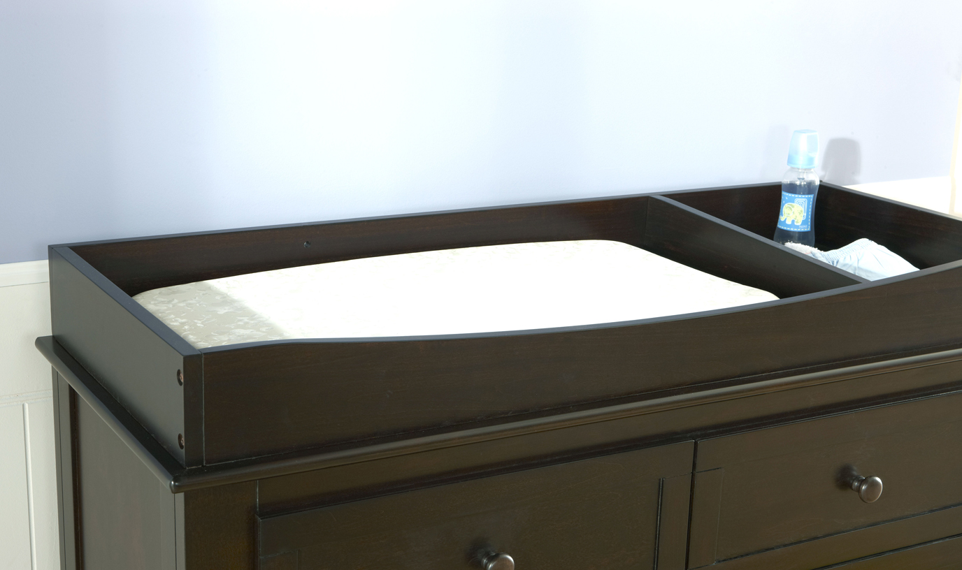 "Our 9900 <b>Changing Tray</b>, shown on the top of a 2006 Bolzano Double Dresser.<br>Please note that the height of the Changing Tray in Granite and Vintage White is 3"".<br>Changing Tray internal dimensions: <br>Pad area: 34"" x 17.50"".  Storage area: 9.75"" x 17.50""."