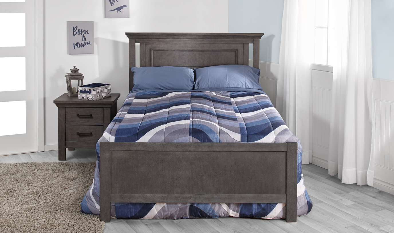 Now in Stock: The <b>Low Profile Footboard</b>. A fresh new look for your crib conversion! Here featured with the Como Collection.