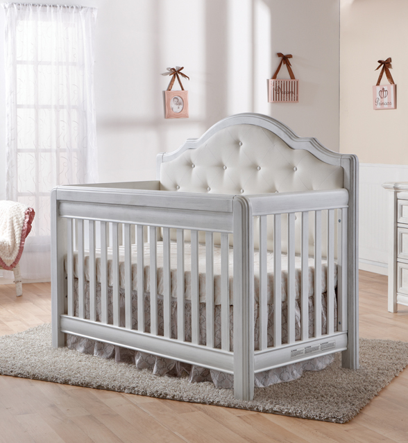 The <b>Cristallo Forever Crib</b> in Vintage White.