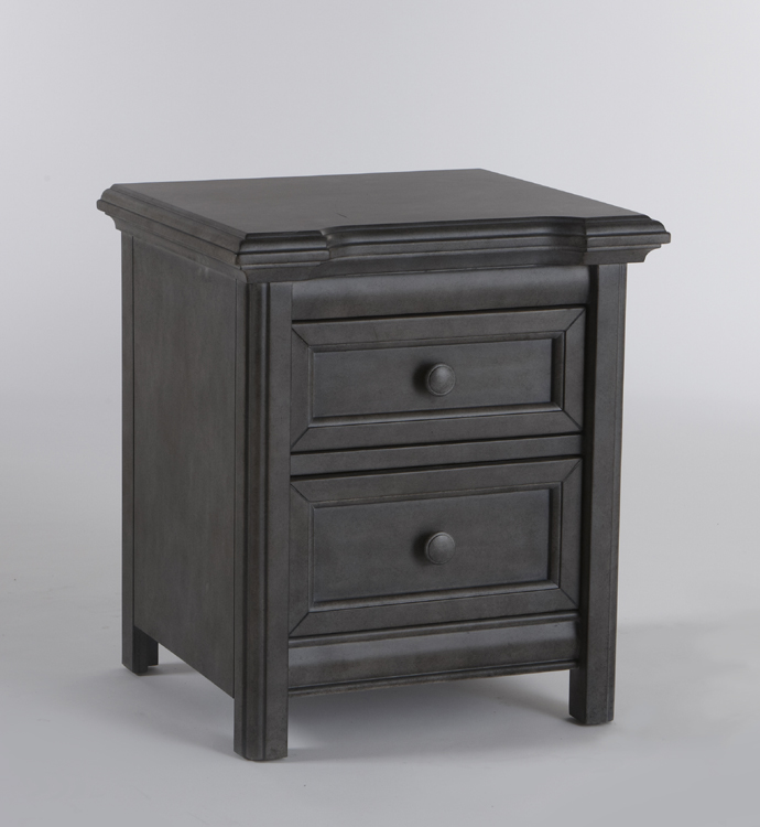 The 2214 <b>Cristallo Nightstand</b>, in Granite. <br>Like a little beacon of beauty, this darling nightstand has just enough flare to be a delightfully eye-catching piece in your little one's nursery.  The smoothly rounded moldings that surround the top of the dresser provide a little bit of elegant charm, and the straight legs point of the classic styling of the Cristallo Collection.  Created with two small soft-closing drawers to keep the important things close at hand, the Cristallo Nightstand is a charming addition to any nursery.