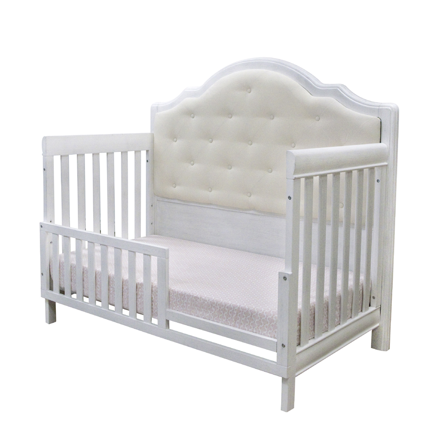 The <b>Cristallo Forever Crib</b> as an amazing <b>toddler bed</b>, in Vintage White.