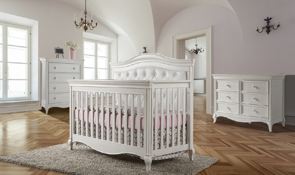 Our breath-taking <b>Diamante Collection</b>, featuring also a the <b>Diamante 2402 Convertible Crib</b> with the white vinyl headboard panel</b>.