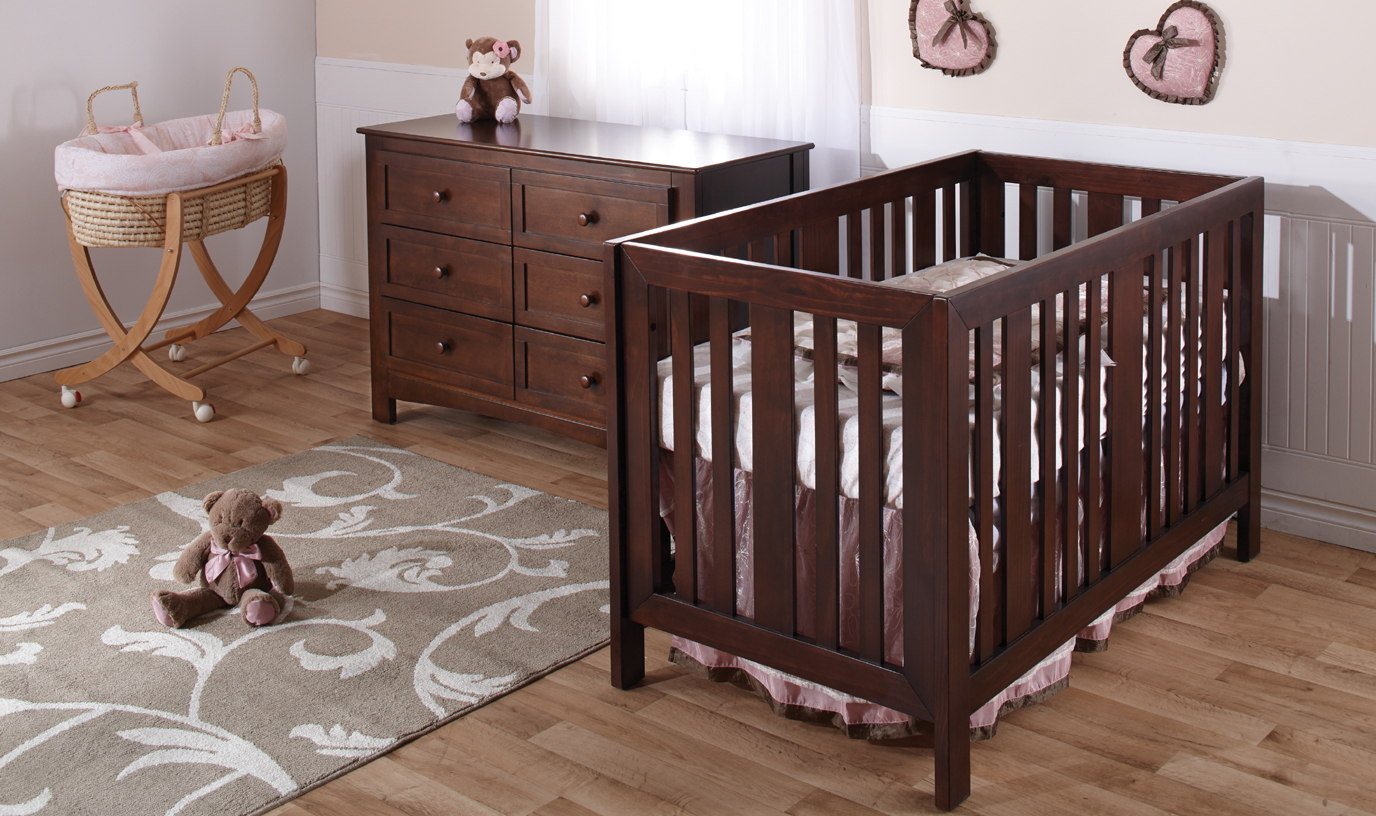 <b>Imperia Forever Crib</b> with a 2006 Bolzano Double Dresser in Mocacchino.