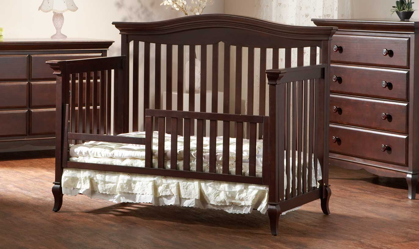 <b>Mantova Toddler Bed</b>, in Chocolate (finish not available).  The Mantova Crib can convert into a toddler bed with the purchase of a <b>Toddler Rail</b> (sold separately).  It can also convert into a full-size bed (with the purchase of the Universal Rails, sold separately).
