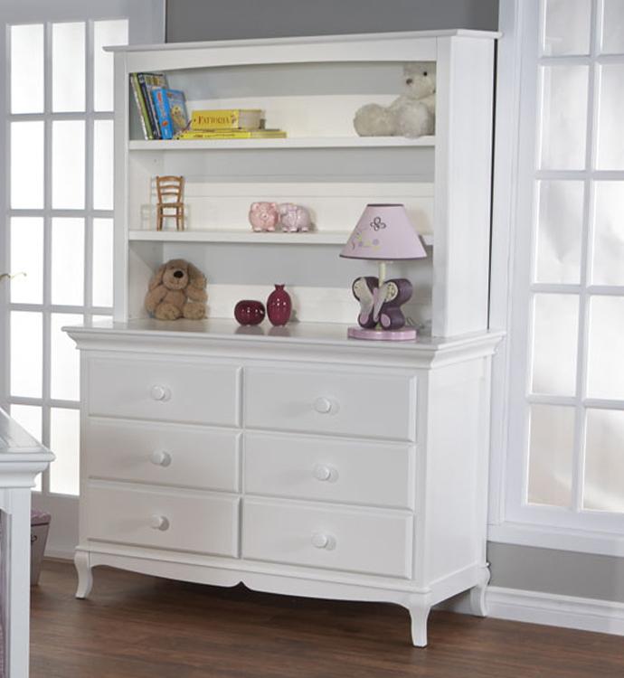 Mantova Double Dresser With A 5555 Bookcase Hutch Shown In White