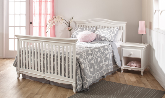 <b>Mantova Full-Size Bed</b>, in White.  The Mantova Crib can convert into a full-size bed (with the purchase of the <b>Full-Size Bed Rails</b>, sold separately).  It can also convert into a toddler bed with the purchase of a Toddler Rail (sold separately).