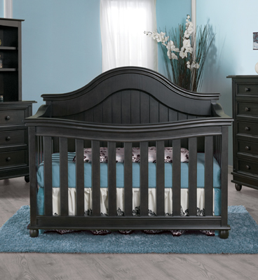The <b>Marina</b> Collection.<br> Here is the 1600 Forever Crib with the 1606 Double Dresser and the 1605 5 Drawer Dresser, in Onyx.