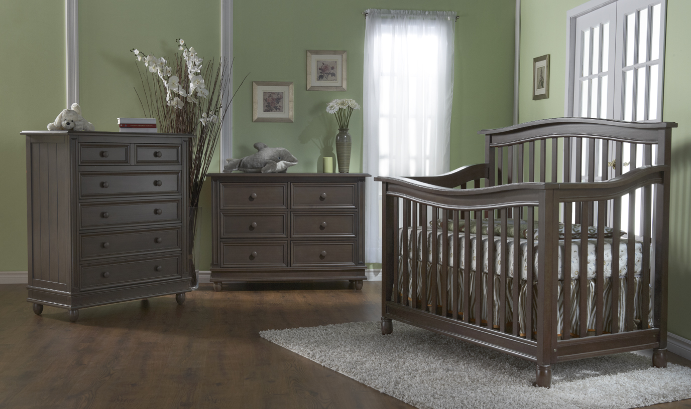 The <b>Wendy Forever Crib</b> with the 1605 Marina 5 Drawer Dresser and the 1606 Marina Double Dresser, in Slate.