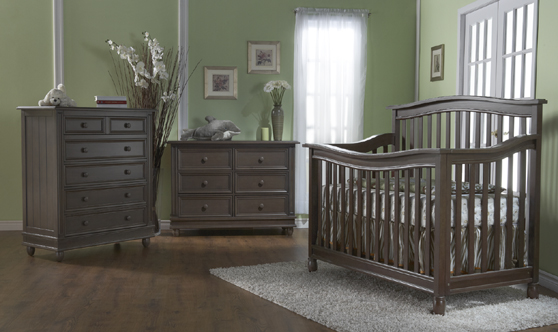 <b>Wendy Forever Crib</b> with the Marina 1605 5 Drawer Dresser and the Marina 1606 Double Dresser, in a brand new finish: Slate.