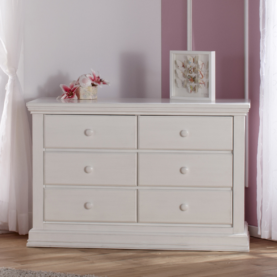 The <b>2106 Modena Double Dresser</b> in Vintage White.