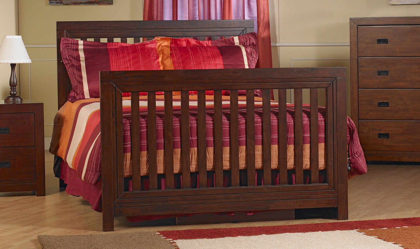 <b>Novara Full-Size Bed</b>, in Vintage Cherry (finish not available).  The Novara Crib can convert into a full-size bed (with the purchase of the <b>Full-Size Bed Rails</b>, sold separately).  It can also convert into a toddler bed with the purchase of a Toddler Rail (sold separately).