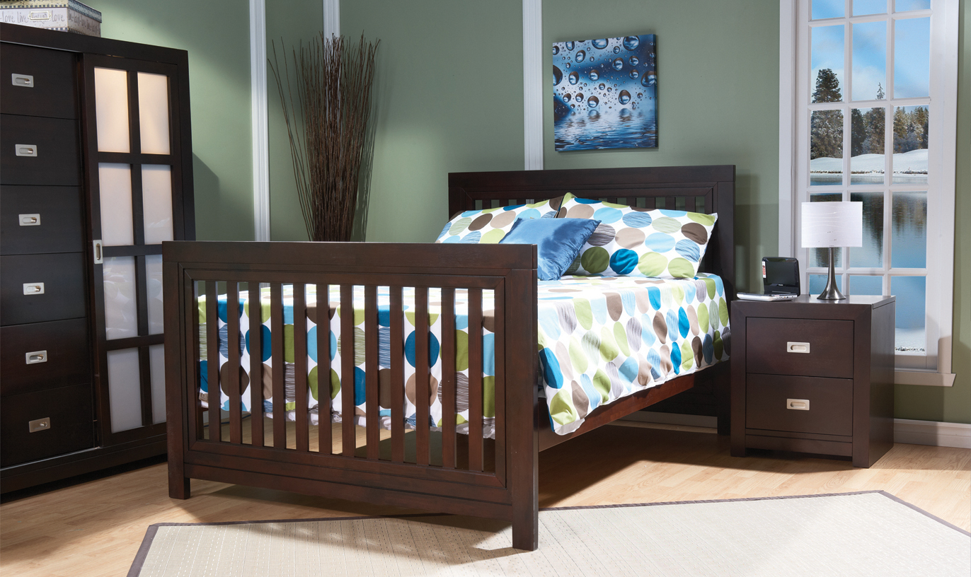 <b>Novara Full-Size Bed</b>, in Mocacchino.  The Novara Crib can convert into a full-size bed (with the purchase of the <b>Full-Size Bed Rails</b>, sold separately).  It can also convert into a toddler bed with the purchase of a Toddler Rail (sold separately).