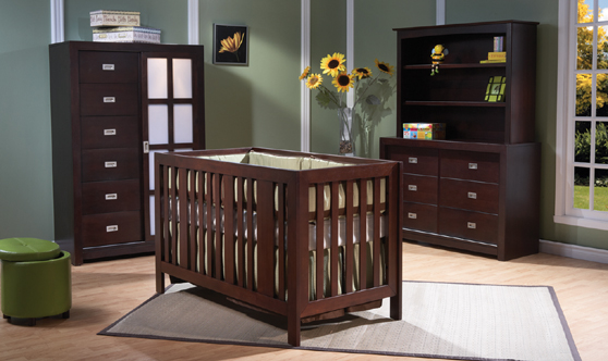 <b>Imperia Forever Crib</b> with a 407 Armoire (item not available), a 426 Double Dresser with a Universal Hutch, all shown in Mocacchino.