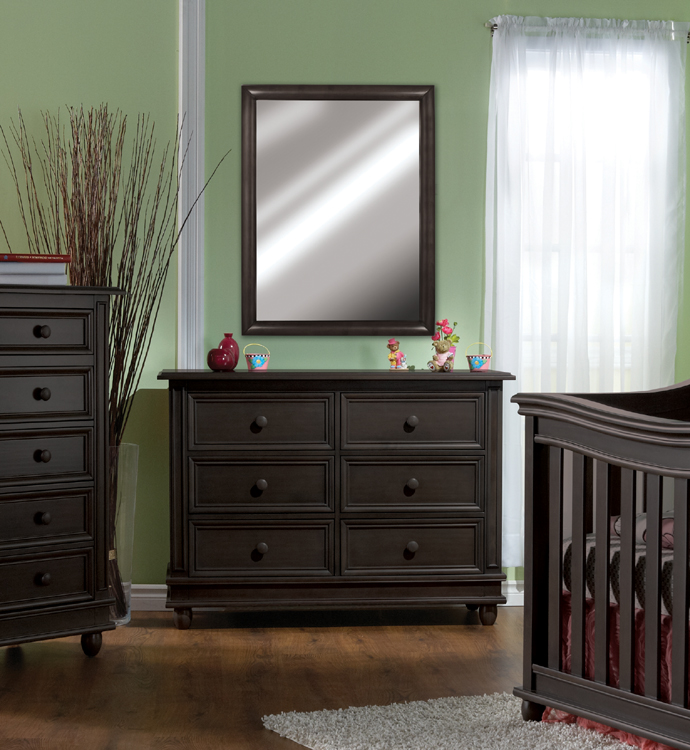 The <b>7777 Pali Mirror</b> on a 1606 <b>Marina Double Dresser</b>, in Slate (finish not available). <br>Please note that the mirror can be also hung on a wall (in portrait or landscape positions) thanks to its pre-installed hooks.