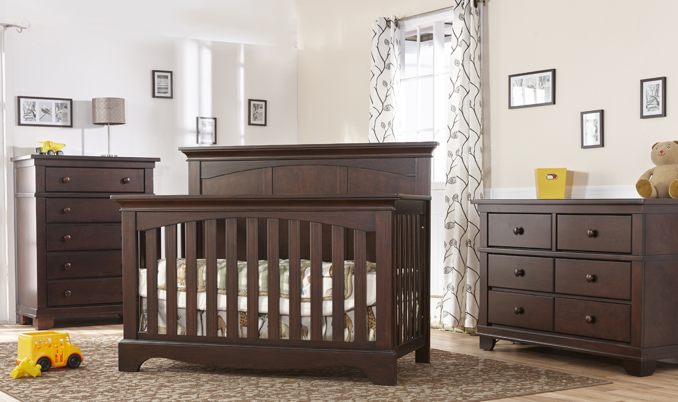 The <b>Ragusa Forever Crib</b> is a timeless and elegant choice for honoring the joyous movement in your life as you welcome your new little one.  <br>Here featured in Mocacchino with Torino dressers.