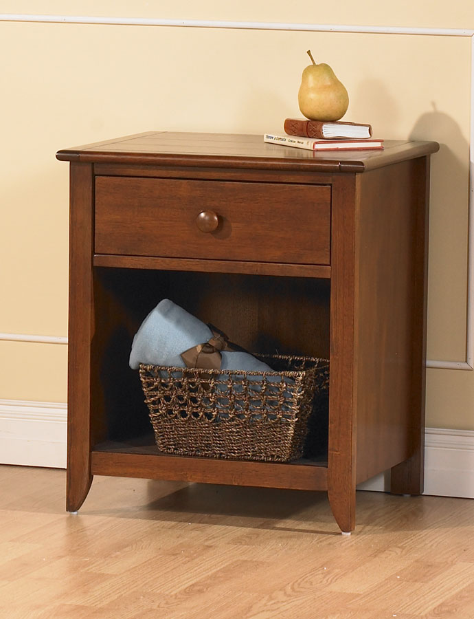 The <b>Salerno Nightstand</b> (shown in Sienna) is a wonderful addition to your little one's nursery.  Constructed with sustainable woods and non-toxic finishes that are regularly tested to ensure that they exceed the required standards for lead, the Salerno Nightstand provides a drawer and a cubby space that is just the right size for all those things you need to reach quickly.