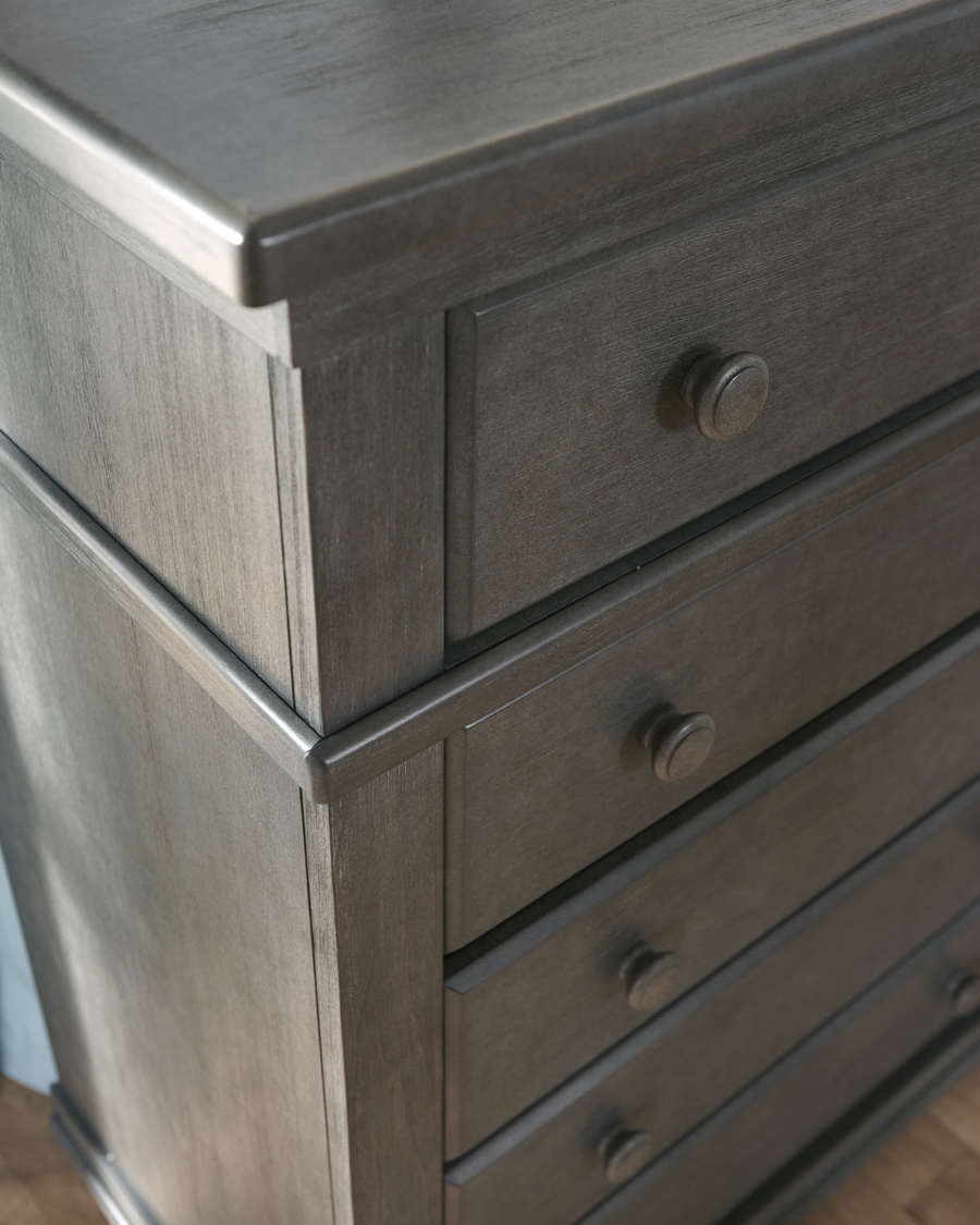 A detail of the <b>1305 Torino % Drawer Dresser</b> in the brand-new <b>Distressed Granite</b> finish (now in stock!).
