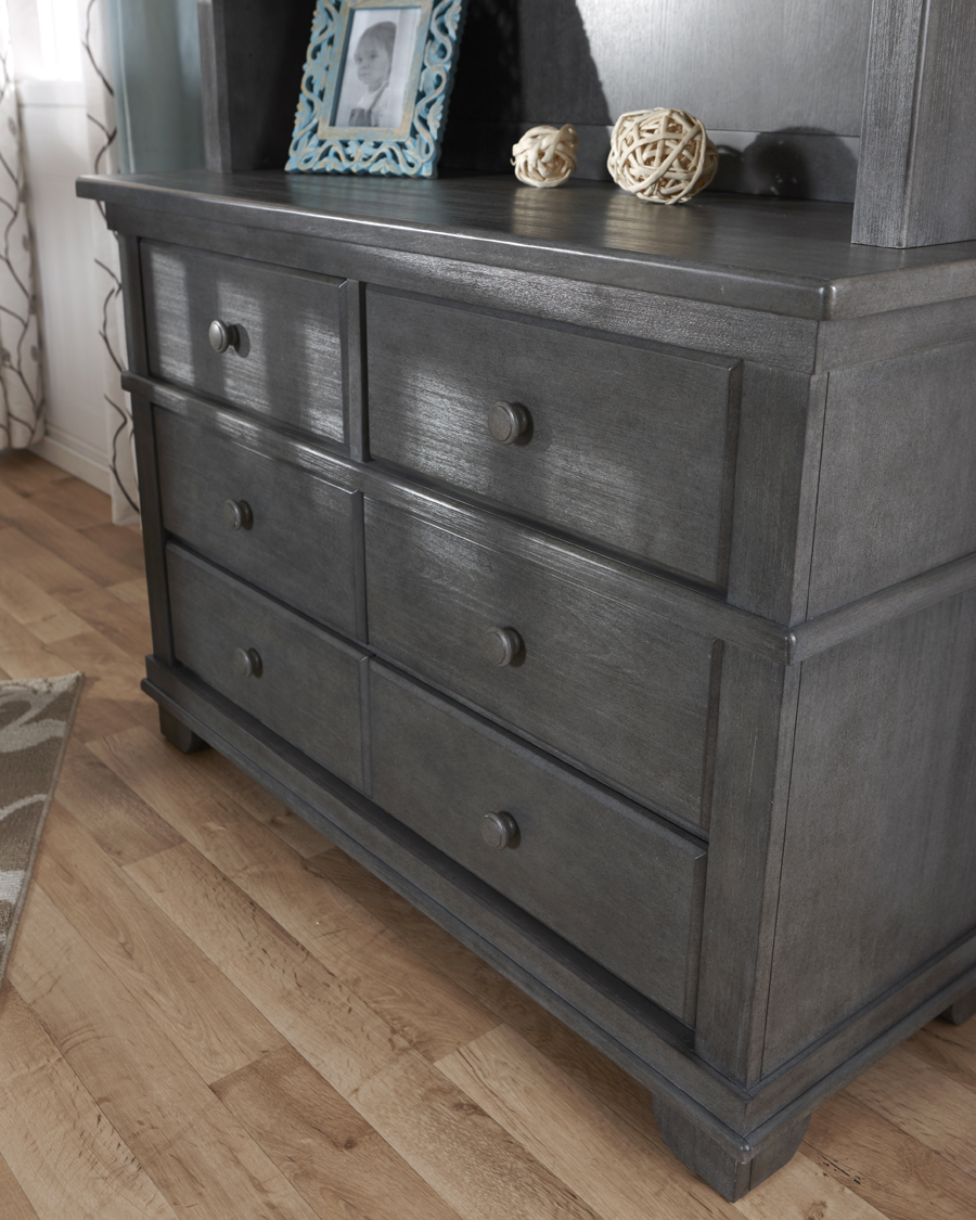 The <b>1306 Double Dresser</b> with a 5555 Bookcase Hutch, in <b>Distressed Granite</b> (finish not available).