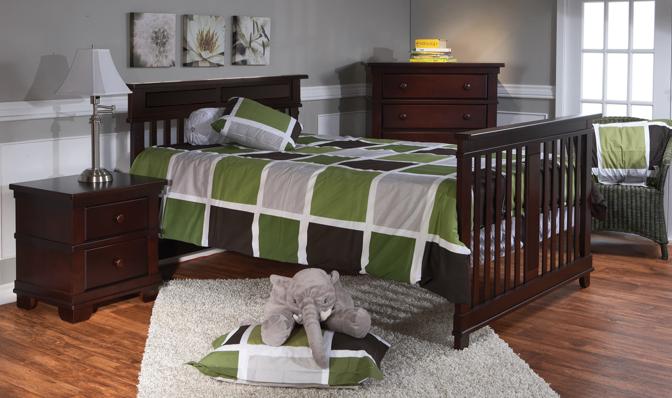 <b>Torino Full-Size Bed</b> with a 1314 Nightstand and a 1305 5-Drawer Dresser, in Mocacchino.