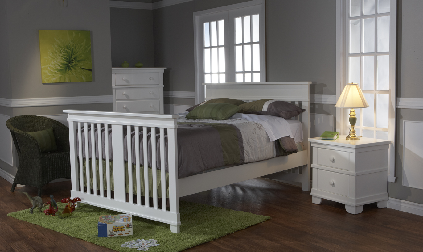 <b>Torino Full-Size Bed</b> with a 1314 Nightstand and a 1305 5-Drawer Dresser, in White.