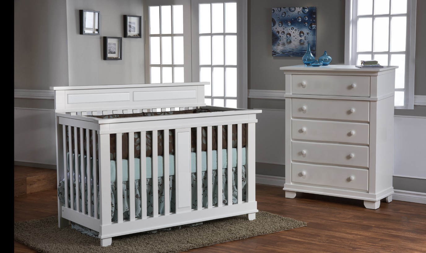 Torino Forever Crib with the 1305 5 Drawer  Dresser, in White.