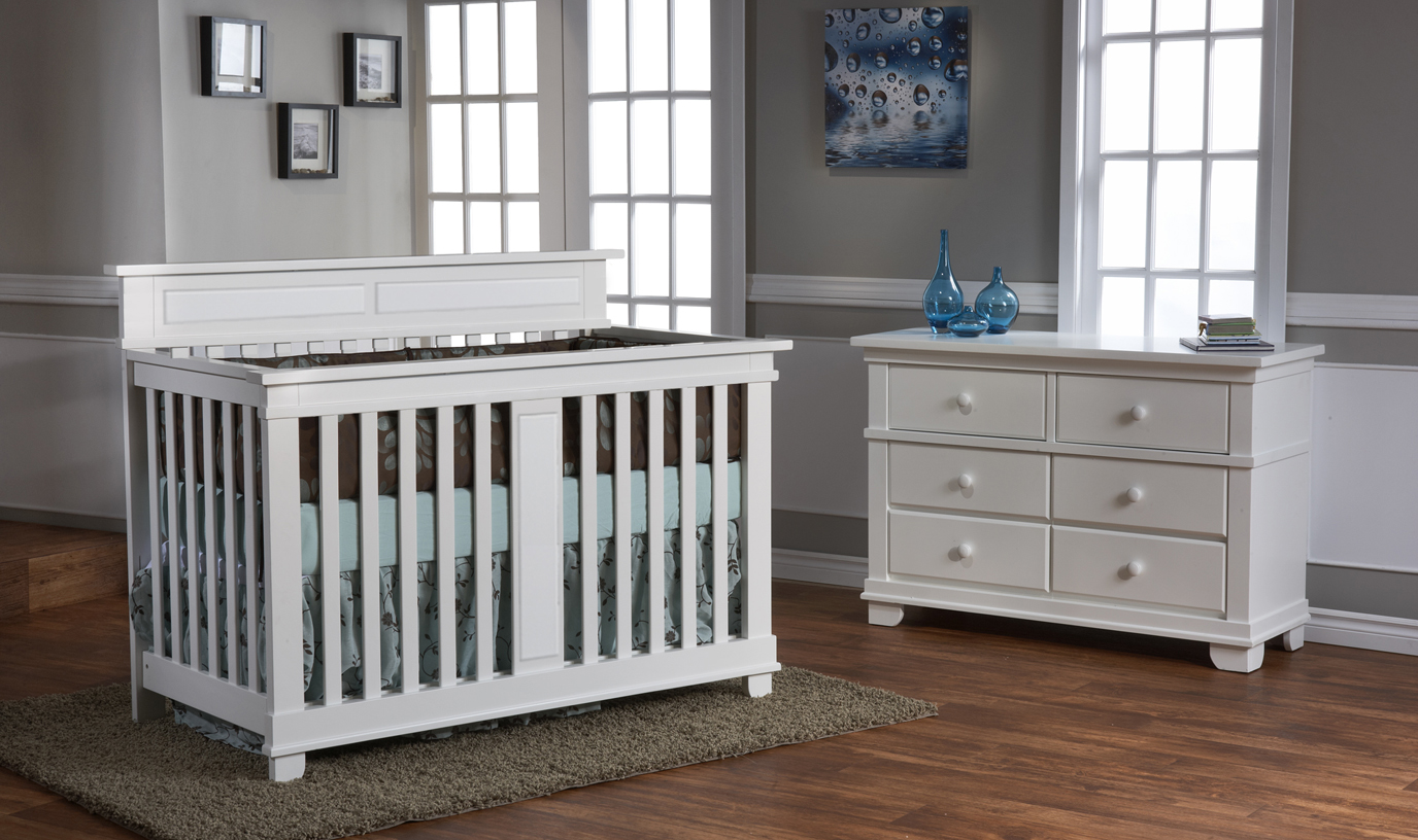 Torino Forever Crib with the 1306 Double Dresser, in White.