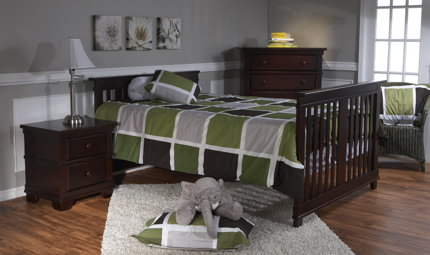<b>Lucca Full-Size Bed</b> with a 1314 Torino Nightstand and a 1305 5 Drawer  Dresser, in Mocacchino.