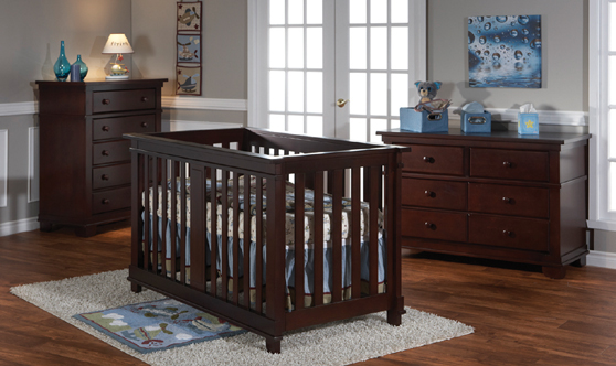 <b>Lucca Forever Crib</b> with a 1306 Double Dresser and a 1305 5 Drawer  Dresser, in Mocacchino.