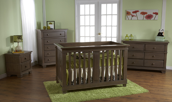 <b>Lucca Forever Crib</b> with a Torino Double Dresser, a Torino 5 Drawer Dresser and a Torino Nightstand, all in Slate.