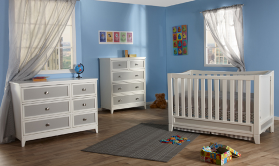 <b>The Treviso Collection!</b>  Here is the 1599 Treviso Forever Crib with a 1506 Treviso Double Dresser and a 1505 Treviso 5-Drawer Dresser, all shown in White/Grey.