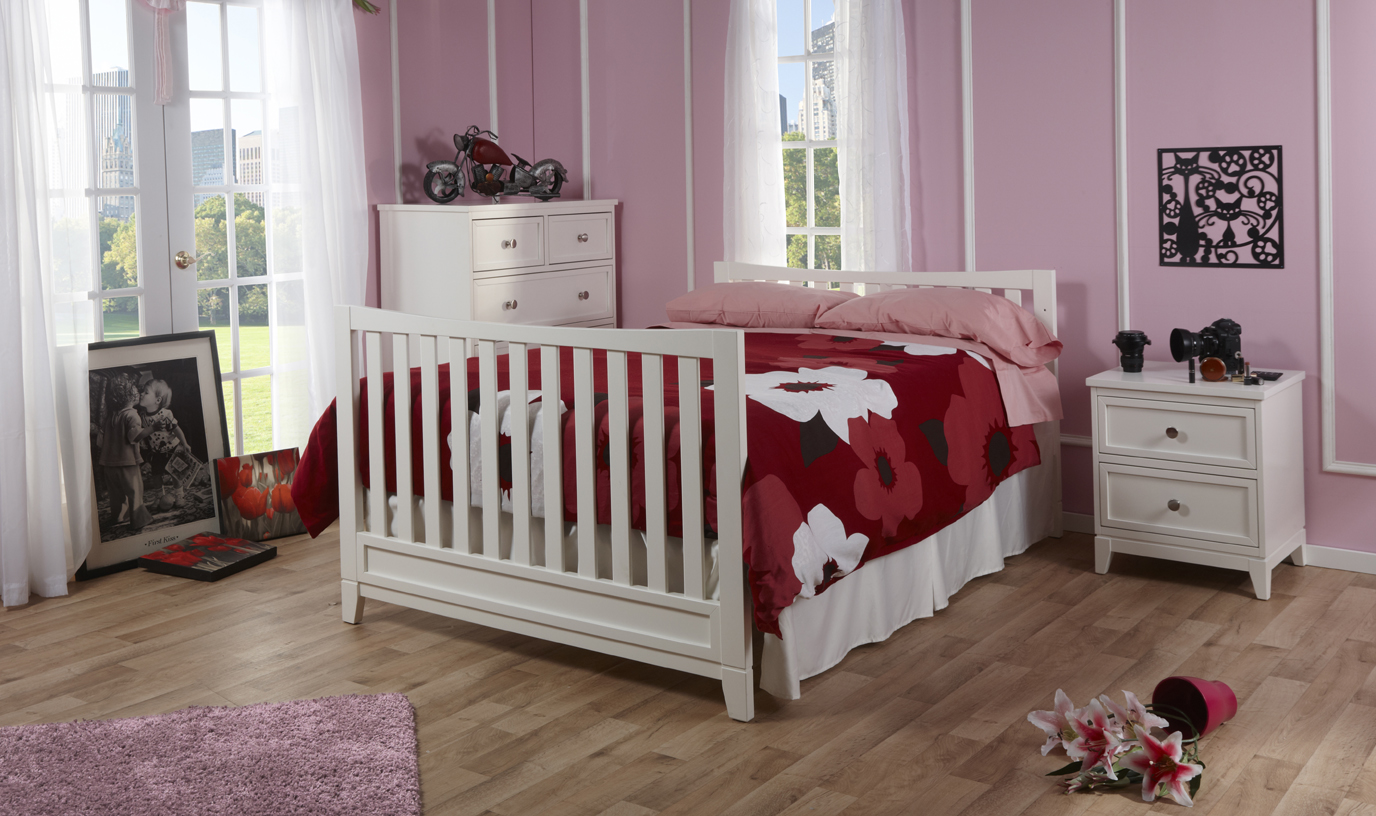 <b>The Treviso Collection is now in stock!</b>  Here is the 1599 Treviso Crib as a Full-Size Bed with a 1505 5-Drawer Dresser and a 1514 Nightstand, all shown in White.