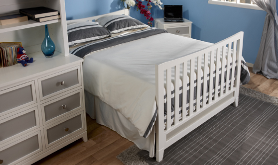 <b>The Treviso Collection!</b>  Here is the 1599 Treviso Crib as a Full-Size Bed with a 1506 Treviso Double Dresser and a 5555 Bookcase Hutch, all shown in White/Grey.