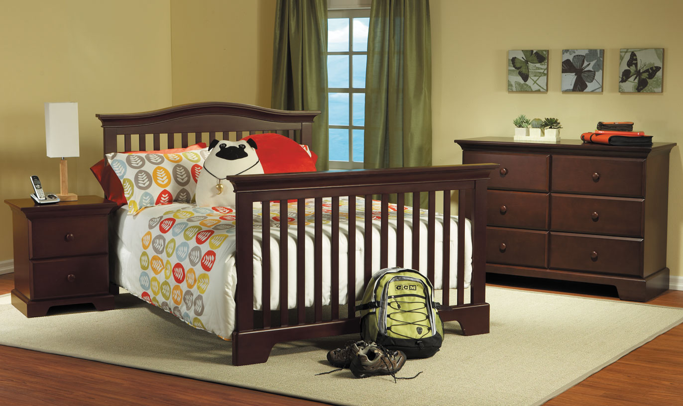 Volterra Nightstand, <b>Volterra Full-Size Bed</b>, Double Dresser, all shown in Vintage Cherry (finish not available).  The Volterra Crib can convert into a full-size bed (with the purchase of the <b>Full-Size Bed Rails</b>, sold separately).  It can also convert into a toddler bed with the purchase of a Toddler Rail (sold separately).