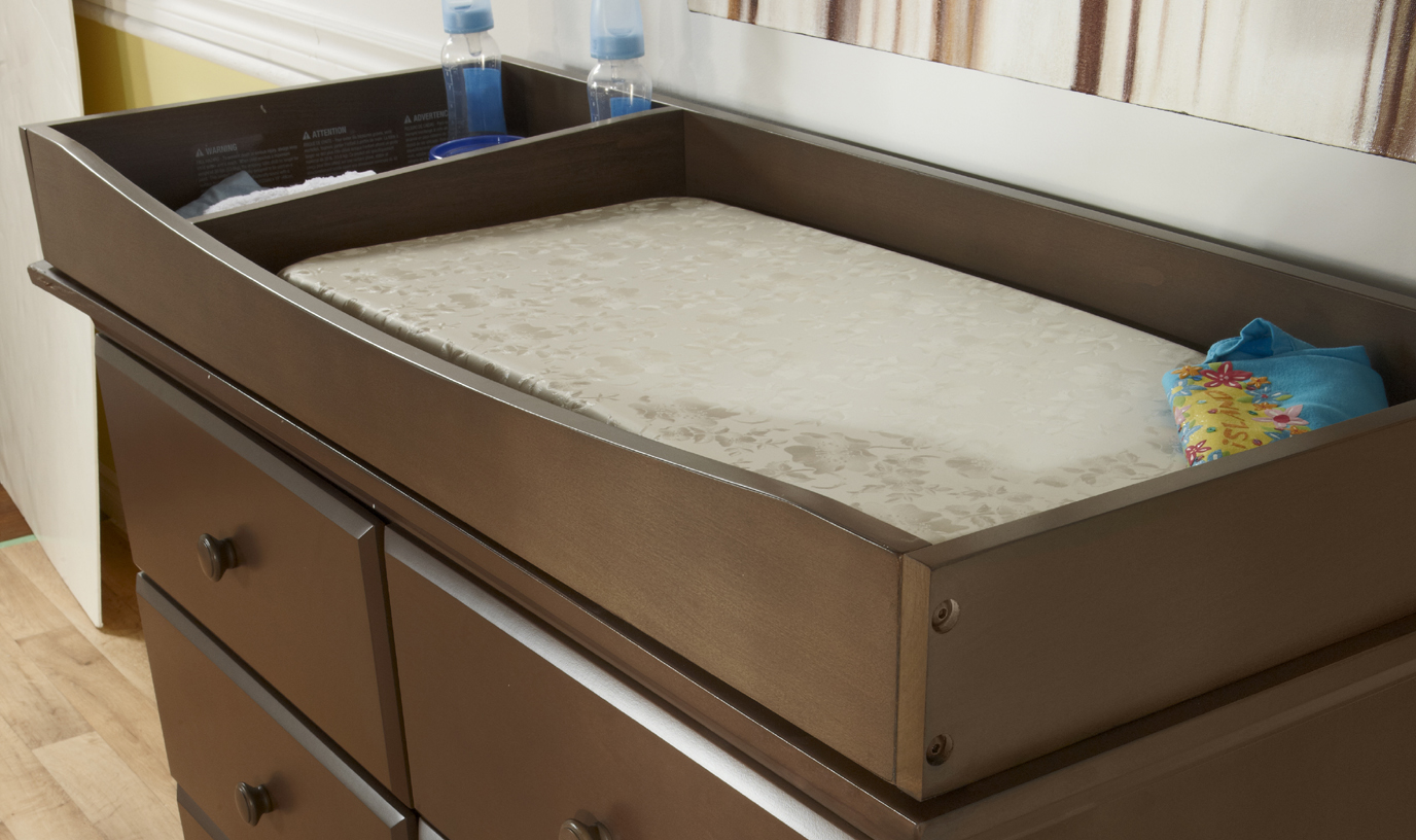 "Our 9900 <b>Changing Tray</b>, shown on the top of a 1206 Volterra Double Dresser.<br>Please note that the height of the Changing Tray in Granite and Vintage White is 3"".<br>Changing Tray internal dimensions: <br>Pad area: 34"" x 17.50"".  Storage area: 9.75"" x 17.50""."