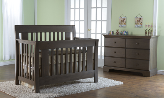 <b>Emilia Forever Crib</b> with a 1306 Volterra Double Dresser, shown in Slate.